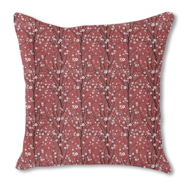 Cherry Tree Burlap Pillow Single Sided
