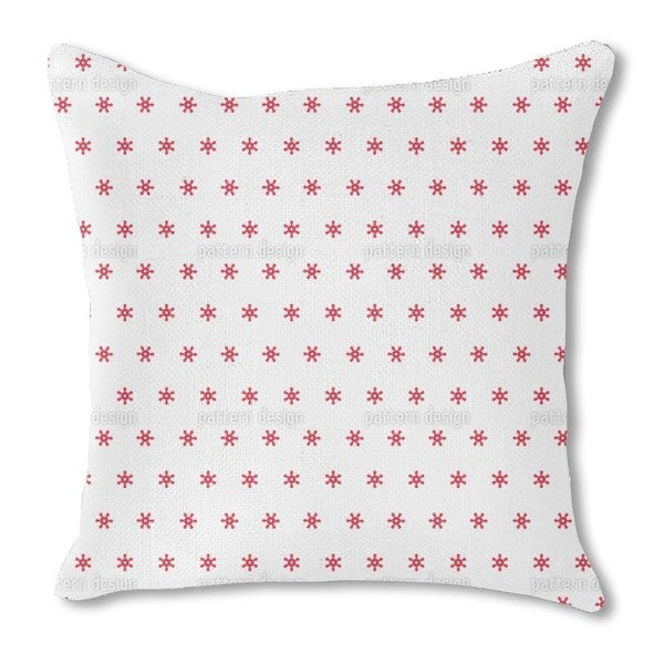 Snowflakes Red Burlap Pillow Single Sided