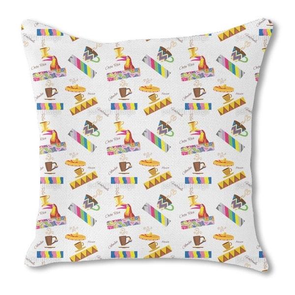 Coffee Origins Burlap Pillow Single Sided