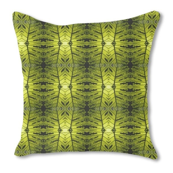 Monstera Green Burlap Pillow Double Sided