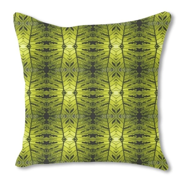 Monstera Green Burlap Pillow Single Sided