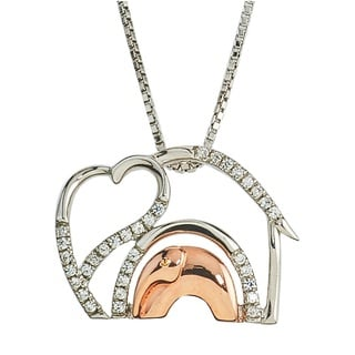 Two-tone 1/10ct TDW Diamond Elephant Mom and Child Necklace By Ever One (H-I,I2-I3)