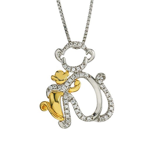 Sterling Silver and 10k Gold 1/8ct TDW Diamond Monkey Mom and Child Necklace By Ever One