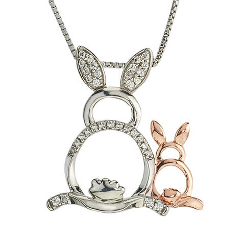 10k Rose Gold and Sterling Silver 1/8ct TDW Diamond Rabbit Mom and Child Necklace By Ever One