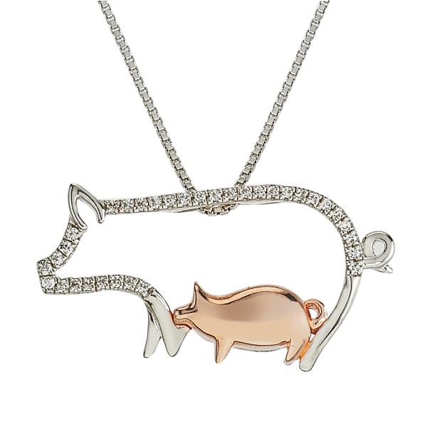 10k Rose Gold and Sterling Silver 1/10ct TDW Diamond Pig Mom and Child Necklace By Ever One