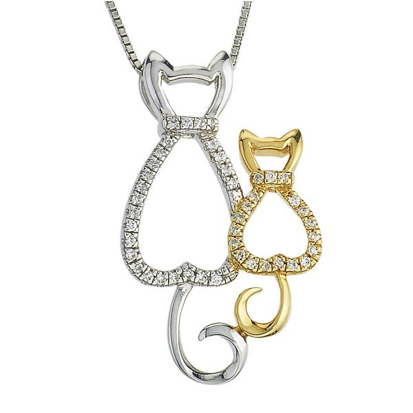10k Gold And Sterling Silver Diamond Cat Mom Child Necklace By Ever One