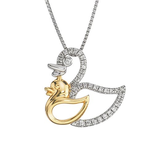 10k Gold and Sterling Silver 1/8ct TDW Diamond Dove Mom and Child Necklace By Ever One