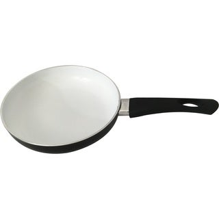 Wee Healthy White/Black Ceramic 9.5-inch Fry Pan with Silicon Handle