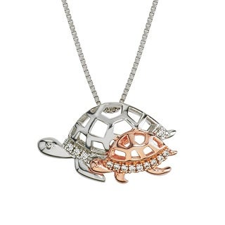 10k Rose Gold and Sterling Silver Diamond Accent Tortoise Mom and Child Necklace By Ever One (H-I,I2-I3)