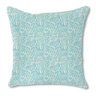 Zebra Aqua Burlap Pillow Double Sided