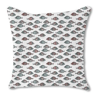 Swarm of Fish Burlap Pillow Double Sided
