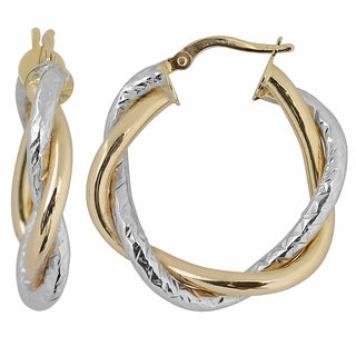 Fremada Italian 14k Two-tone Gold 5x20-mm Intertwined Round Hoop Earrings