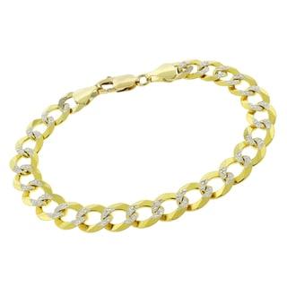 14k Yellow Gold 9.5 mm Solid Cuban Curb Link Bracelet