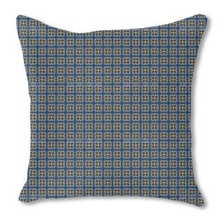 Tiles in Blue and Gold Burlap Pillow Double Sided