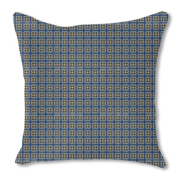 Tiles in Blue and Gold Burlap Pillow Single Sided