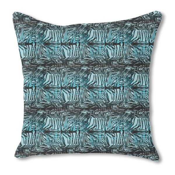 Zebra Fur Blue Burlap Pillow Single Sided