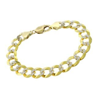 14k Yellow Gold 11.5mm Solid Cuban Curb Link Diamond Cut Two-Tone Pave Bracelet Chain 8.5""