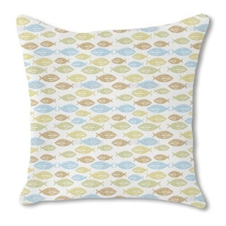 Pacific Fish Burlap Pillow Double Sided