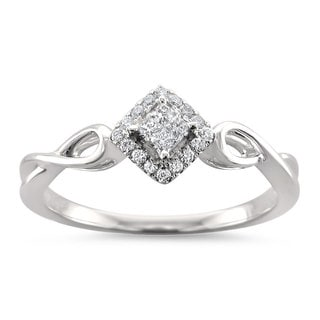 Montebello Jewelry 14k White Gold 1/7ct TDW Princess-cut White Diamond Composite Ring