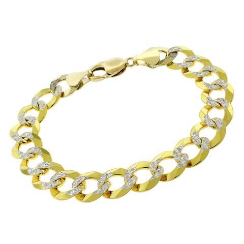 "14K Yellow Gold 12MM Solid Cuban Curb Link Diamond-Cut Pave Bracelet 8.75"", Gold Bracelet for Men & Women, 100% Real 14K Gold"
