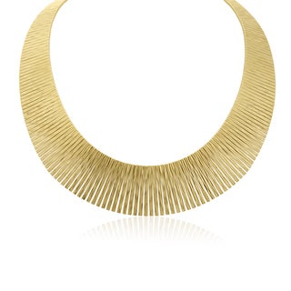 Italian 14K Yellow Gold Cleopatra Tapered Bib Necklace, 17 Inches