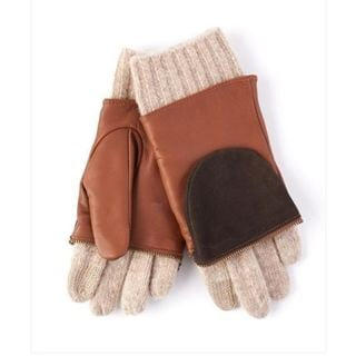 Echo Design Womens Leather and Wool Colorblock Saddle Brown Glitten Gloves