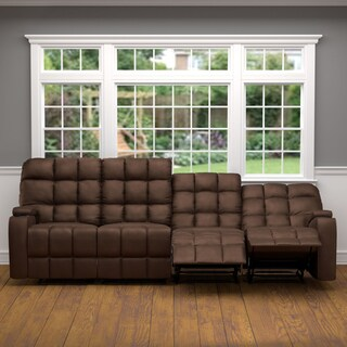 Oliver & James Saskia Brown Microfiber 4-seat Recliner Sofa