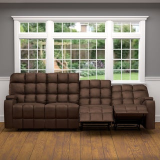 Oliver U0026 James Saskia Brown Microfiber 4 Seat Recliner Sofa