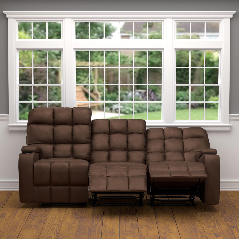 ProLounger Brown Microfiber Wall Hugger Storage 3 Seat Reclining Sofa