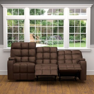 Oliver & James Saskia Brown Microfiber 3-seat Recliner Sofa