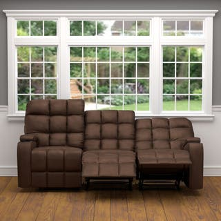 Oliver James Saskia Brown Microfiber 3 Seat Recliner Sofa