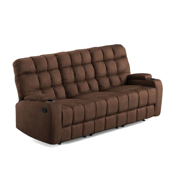 ProLounger Brown Microfiber Wall Hugger Storage 3 Seat Reclining Sofa - Free Shipping Today - Overstock.com - 19451219  sc 1 st  Overstock.com & ProLounger Brown Microfiber Wall Hugger Storage 3 Seat Reclining ... islam-shia.org