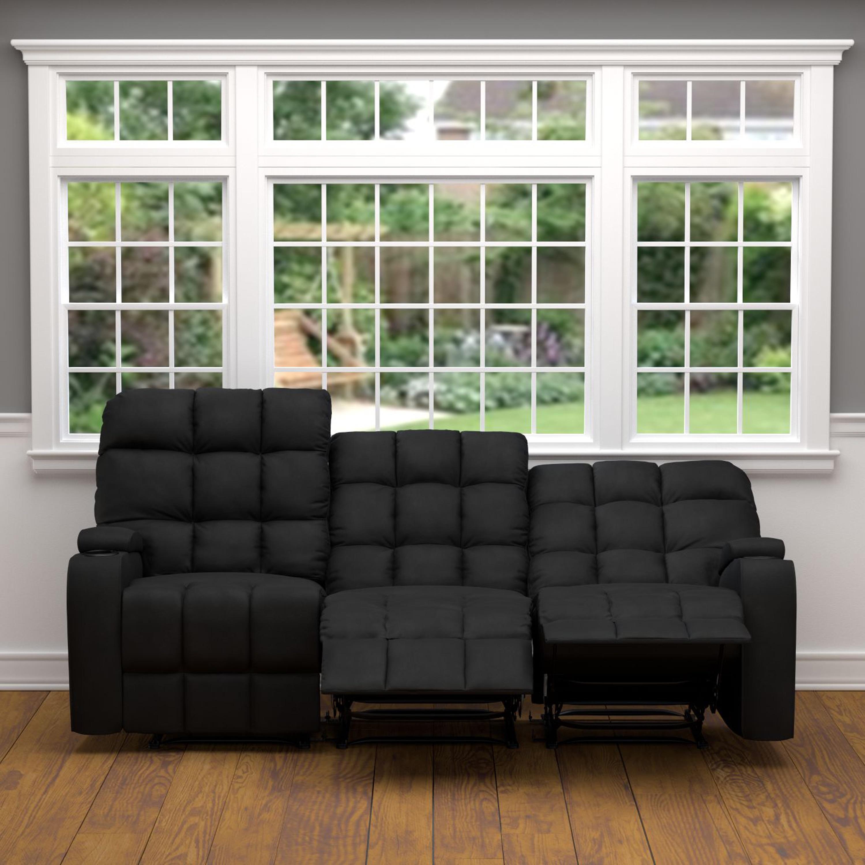 ProLounger Black Microfiber Wall Hugger Storage 3 Seat Reclining Sofa