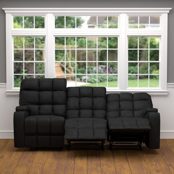 Prolounger Black Microfiber Wall Hugger Storage 3 Seat Reclining Sofa Free Shipping Today