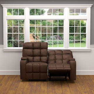 ProLounger Brown Microfiber Storage 2 Seat Reclining Loveseat