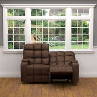 Oliver & James Saskia Brown Microfiber 2-seat Recliner Loveseat