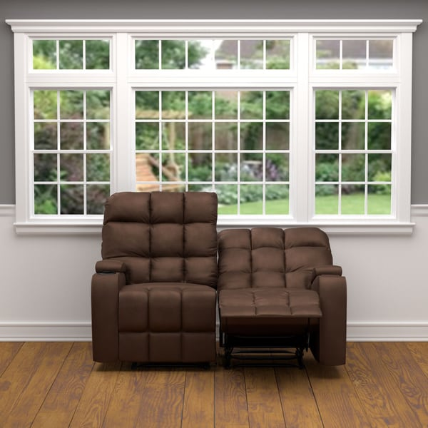 Prolounger Brown Microfiber Wall Hugger Storage 2 Seat Reclining Loveseat Free Shipping Today