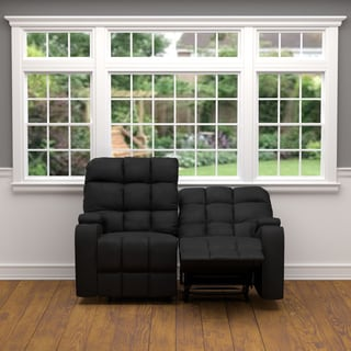 prolounger black microfiber wall hugger storage 2 seat reclining loveseat