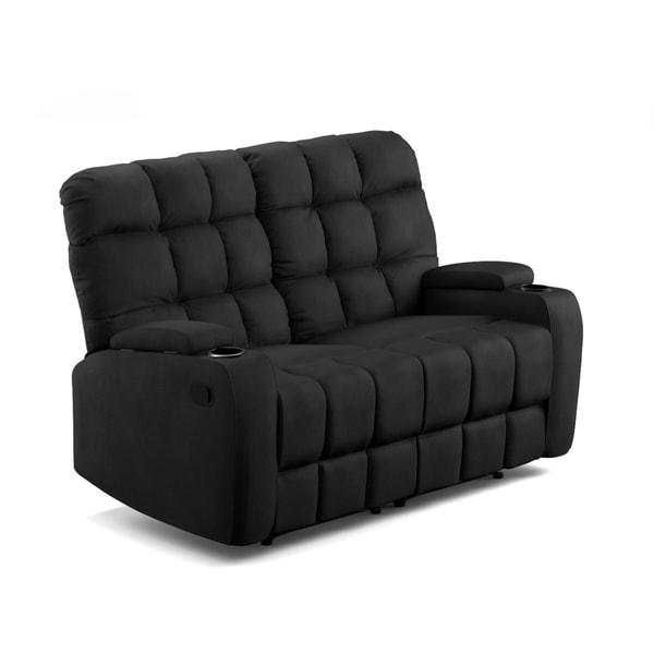 Swell Prolounger Black Microfiber Wall Hugger Storage 2 Seat Reclining Loveseat Short Links Chair Design For Home Short Linksinfo