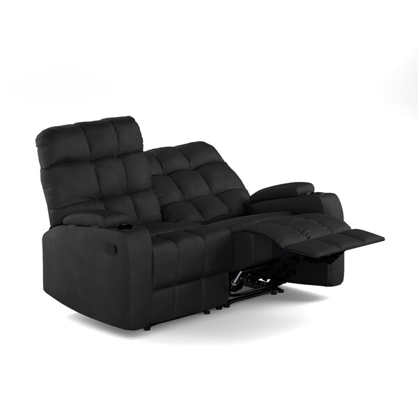 Incredible Prolounger Black Microfiber Wall Hugger Storage 2 Seat Reclining Loveseat Short Links Chair Design For Home Short Linksinfo