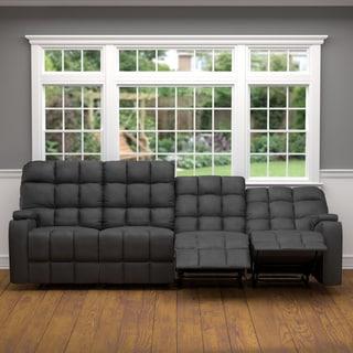 ProLounger Grey Microfiber Wall Hugger Storage 4 Seat Reclining Sofa