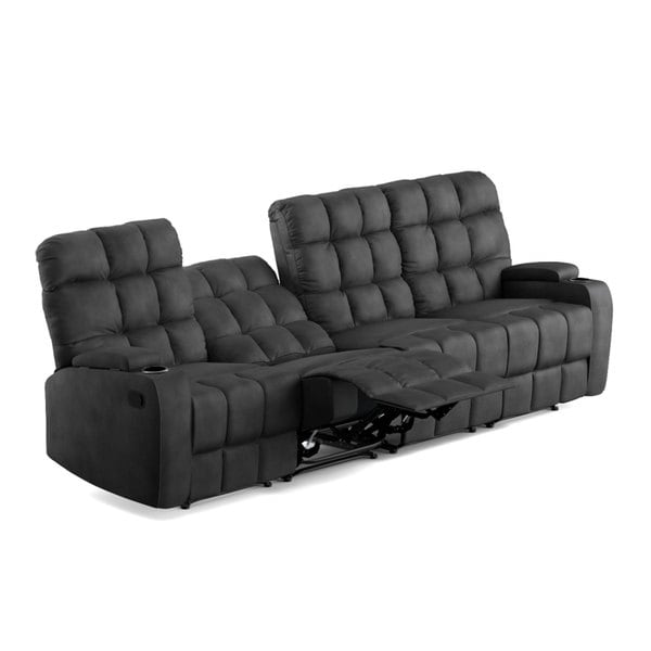 ProLounger Grey Microfiber Wall Hugger Storage 4 Seat Reclining Sofa - Free Shipping Today - Overstock.com - 19451224  sc 1 st  Overstock.com & ProLounger Grey Microfiber Wall Hugger Storage 4 Seat Reclining ... islam-shia.org