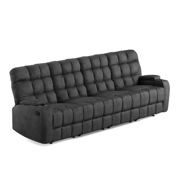 ProLounger Grey Microfiber Wall Hugger Storage 4 Seat Reclining Sofa   Free  Shipping Today   Overstock.com   19451224
