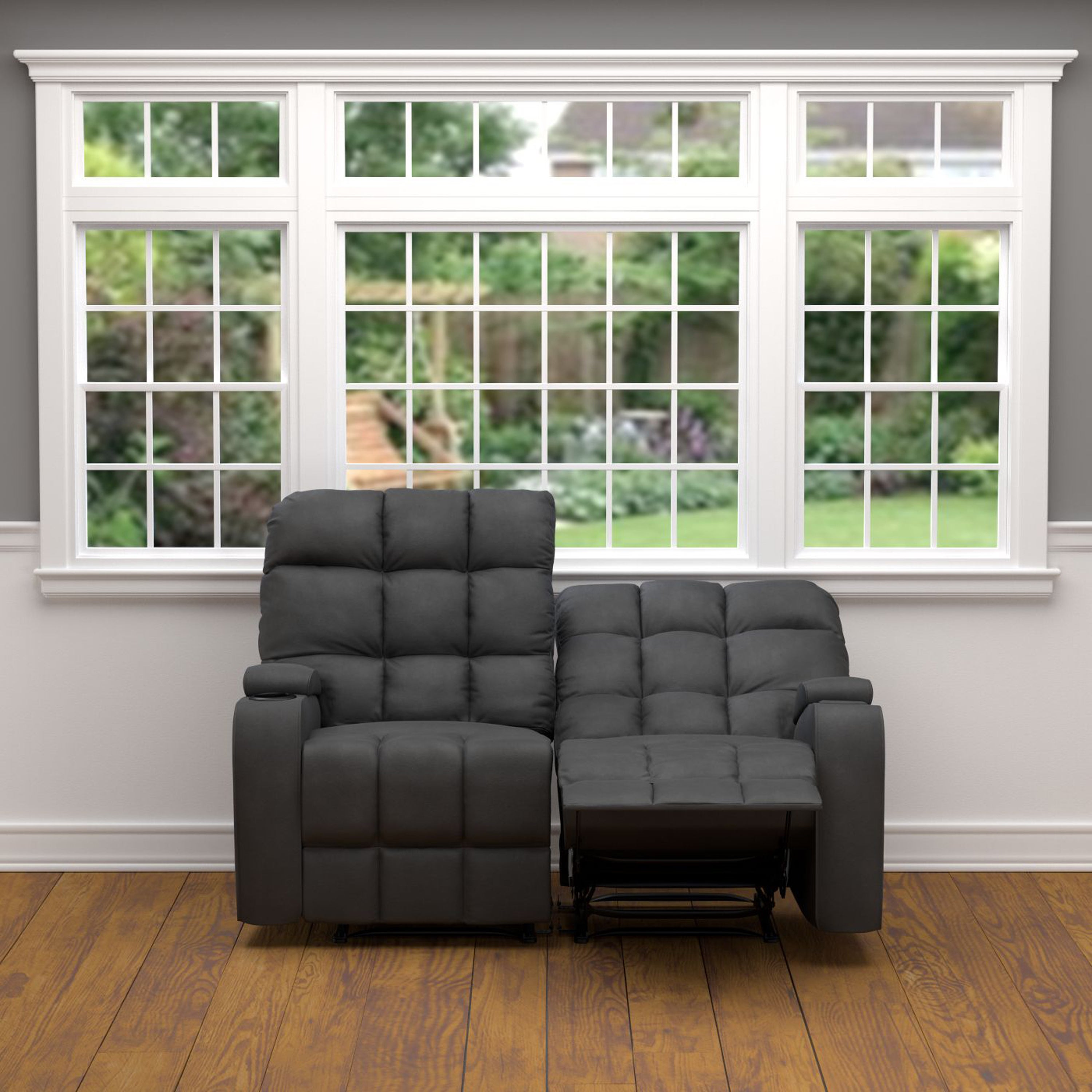 Shop prolounger grey microfiber wall hugger storage 2 seat reclining loveseat free shipping on orders over 45 overstock com 12663642