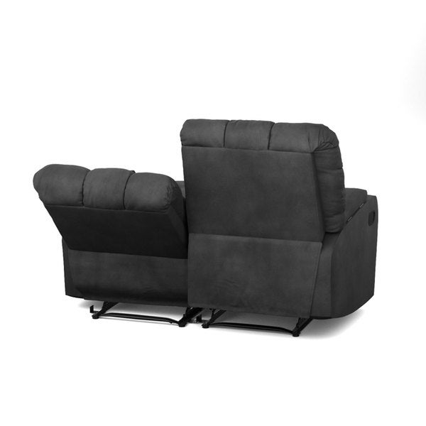 ProLounger Grey Microfiber Wall Hugger Storage 2 Seat Reclining Loveseat - Free Shipping Today - Overstock.com - 19451225  sc 1 st  Overstock.com & ProLounger Grey Microfiber Wall Hugger Storage 2 Seat Reclining ... islam-shia.org
