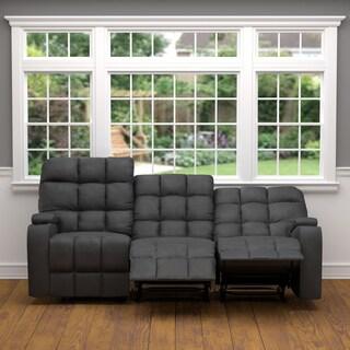ProLounger Grey Microfiber Wall Hugger Storage 3 Seat Reclining Sofa