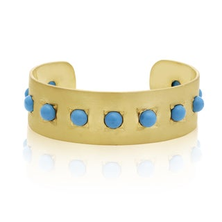 11 Carat Turquoise Cuff Bangle In 14K Yellow Gold Over Sterling Silver