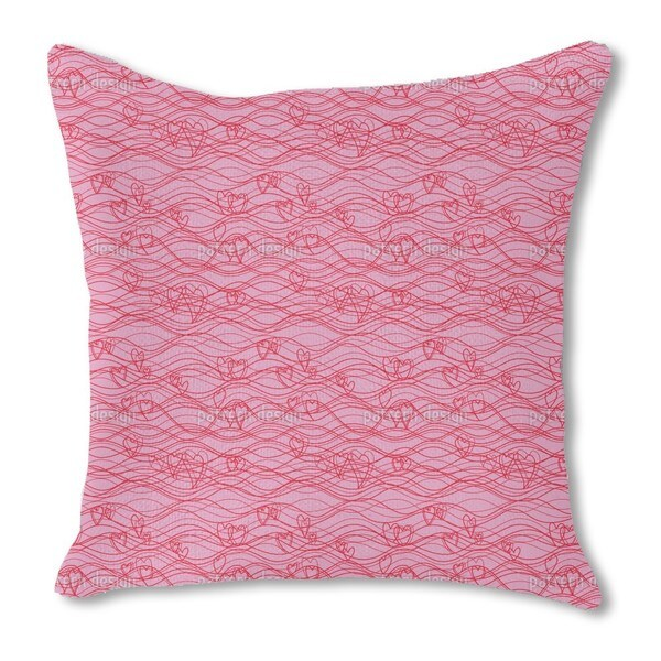 Wavelengths Pink Burlap Pillow Single Sided
