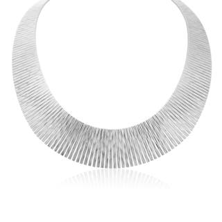 Italian Sterling Silver Cleopatra Tapered Bib Necklace, 17 Inches|https://ak1.ostkcdn.com/images/products/12663663/P19450998.jpg?impolicy=medium