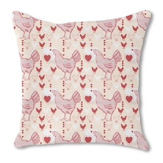 Chicken with Heart Burlap Pillow Single Sided